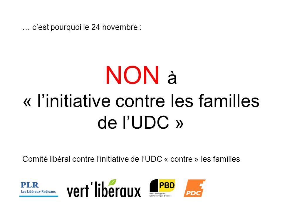 … cest pourquoi le 24 novembre : NON à « linitiative contre les familles de lUDC » Comité libéral contre linitiative de lUDC « contre » les familles