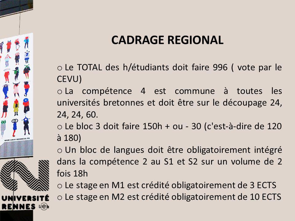 o Le TOTAL des h/étudiants doit faire 996 ( vote par le CEVU) o La compétence 4 est commune à toutes les universités bretonnes et doit être sur le déc