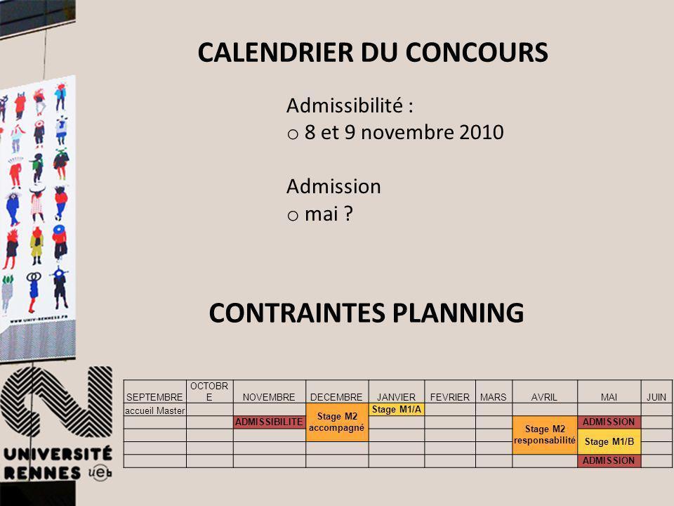 CALENDRIER DU CONCOURS Admissibilité : o 8 et 9 novembre 2010 Admission o mai ? SEPTEMBRE OCTOBR ENOVEMBREDECEMBREJANVIERFEVRIERMARSAVRILMAIJUIN accue