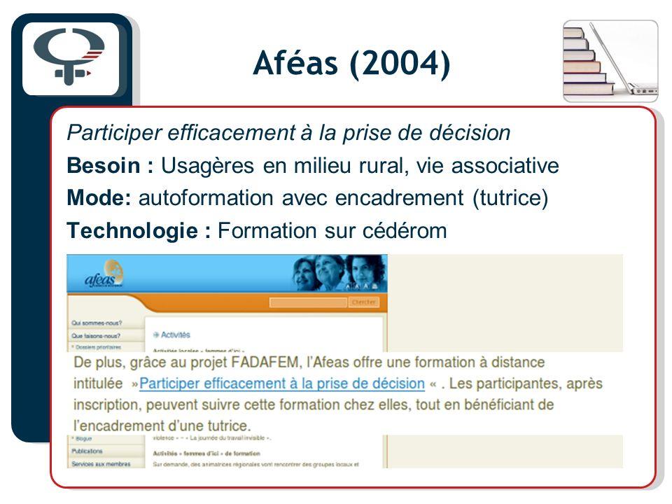 Aféas (2004) Participer efficacement à la prise de décision Besoin : Usagères en milieu rural, vie associative Mode: autoformation avec encadrement (t