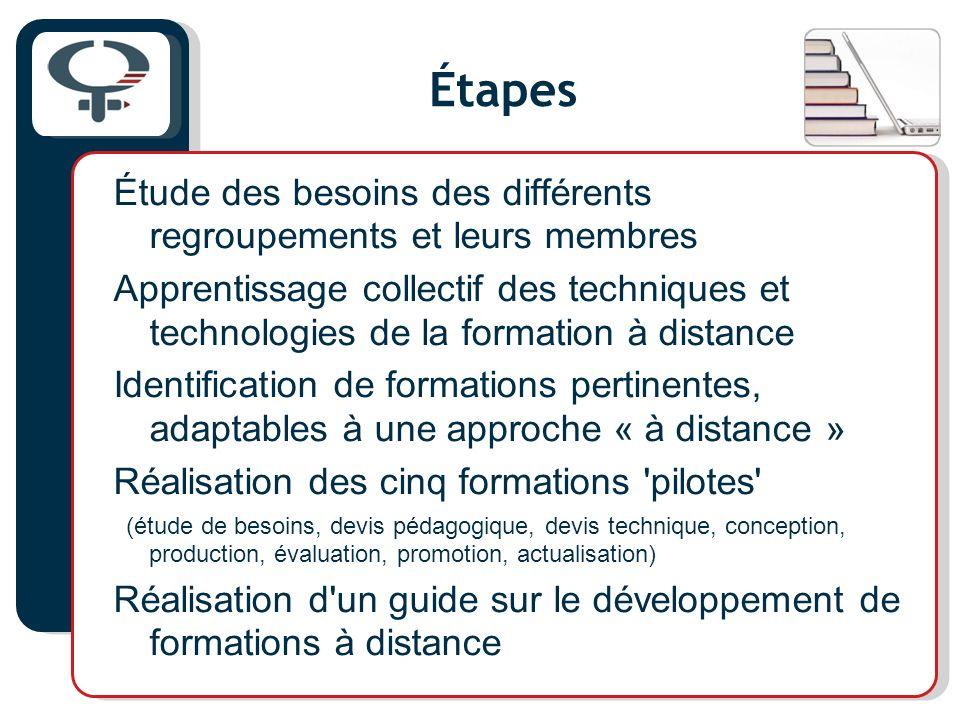 Étapes Étude des besoins des différents regroupements et leurs membres Apprentissage collectif des techniques et technologies de la formation à distan