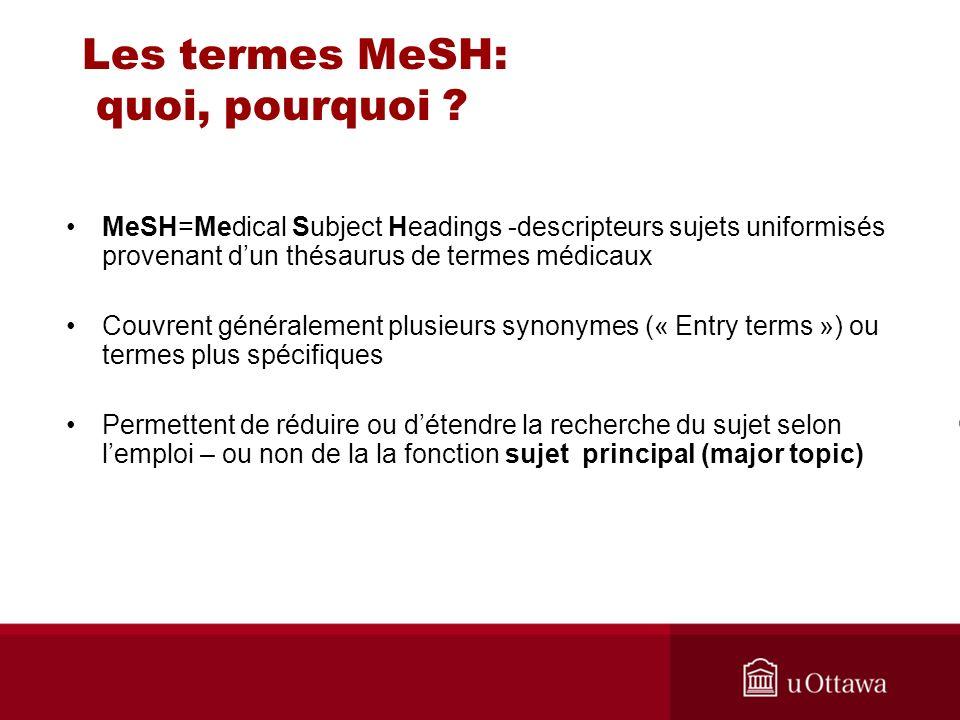 Les termes MeSH: quoi, pourquoi ? MeSH=Medical Subject Headings -descripteurs sujets uniformisés provenant dun thésaurus de termes médicaux Couvrent g