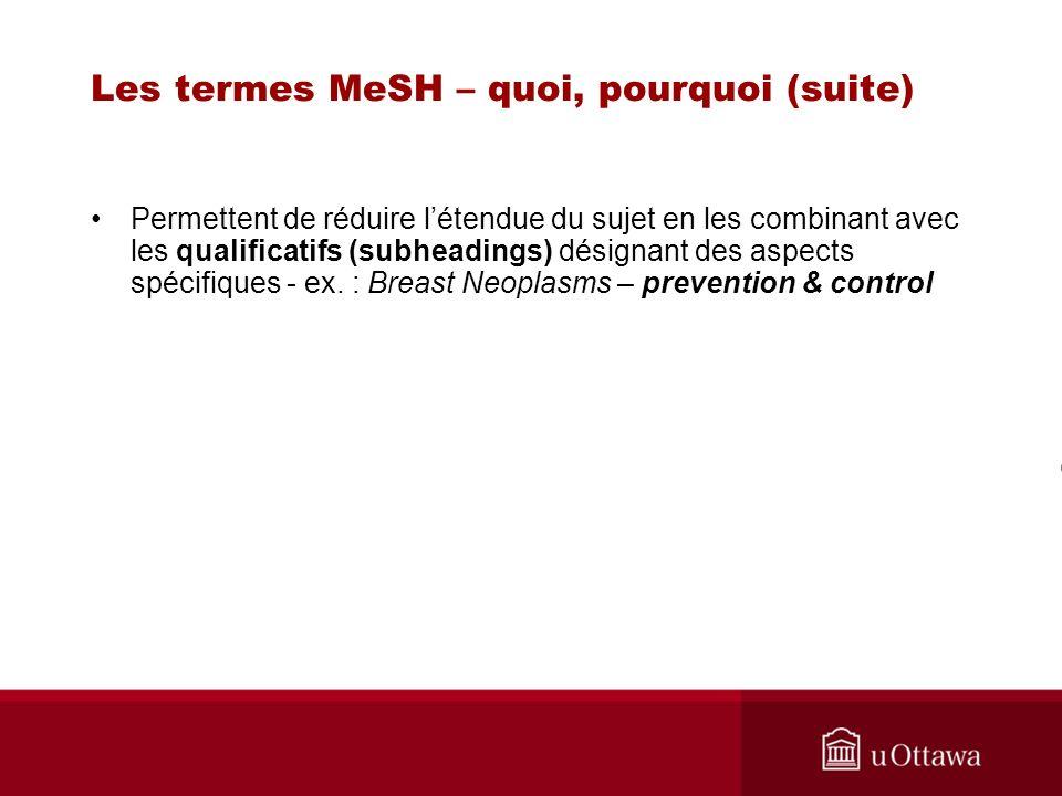 Les termes MeSH – quoi, pourquoi (suite) Permettent de réduire létendue du sujet en les combinant avec les qualificatifs (subheadings) désignant des a