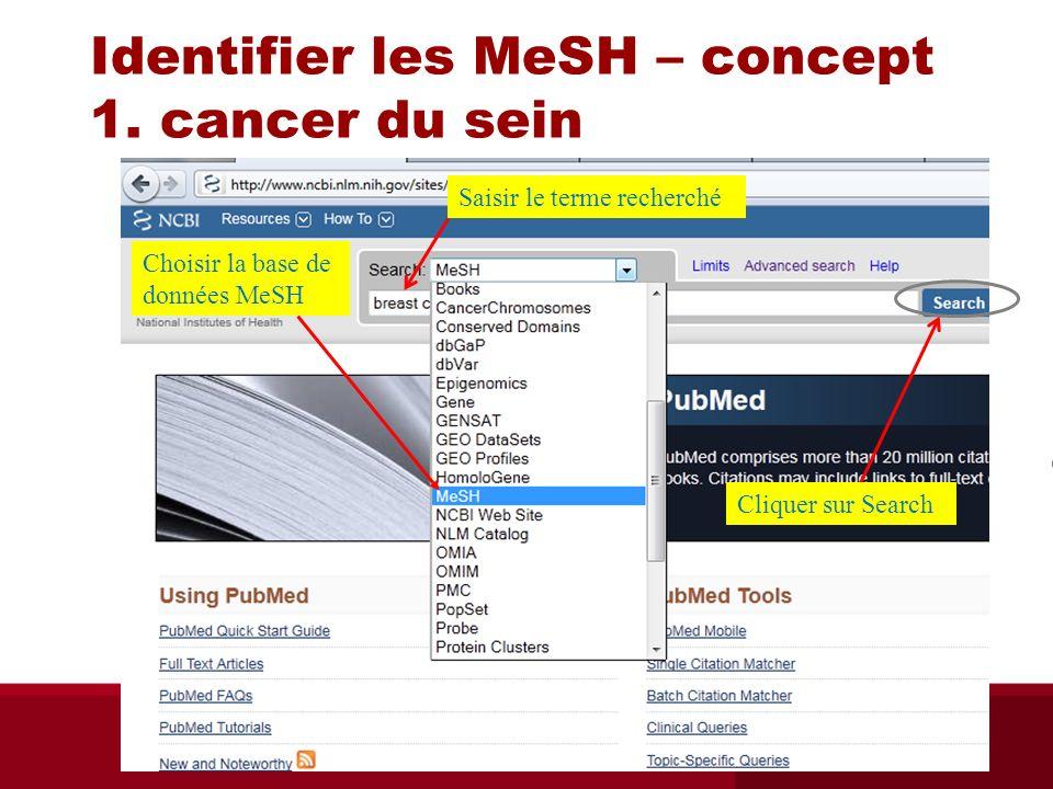 Identifier les MeSH – concept 1. cancer du sein Choisir la base de données MeSH Cliquer sur Search Cliquer sur Saisir le terme recherché