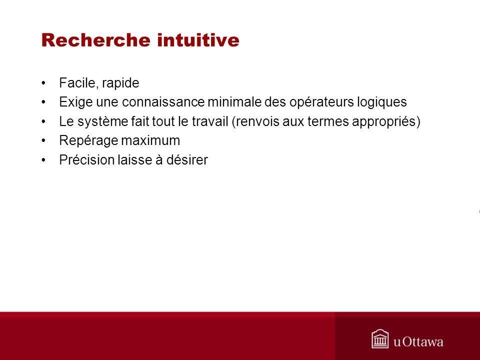 Exemples de recherche intuitive Syntaxe et termes différents amènent des résultats différents