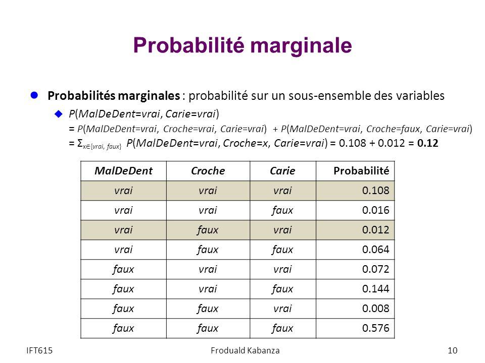Probabilité marginale Probabilités marginales : probabilité sur un sous-ensemble des variables P(MalDeDent=vrai, Carie=vrai) = P(MalDeDent=vrai, Croche=vrai, Carie=vrai) + P(MalDeDent=vrai, Croche=faux, Carie=vrai) = Σ x {vrai, faux} P(MalDeDent=vrai, Croche=x, Carie=vrai) = 0.108 + 0.012 = 0.12 IFT615Froduald Kabanza10 MalDeDentCrocheCarieProbabilité vrai 0.108 vrai faux0.016 vraifauxvrai0.012 vraifaux 0.064 fauxvrai 0.072 fauxvraifaux0.144 faux vrai0.008 faux 0.576