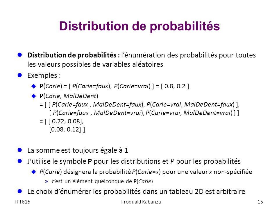 Distribution de probabilités Distribution de probabilités : lénumération des probabilités pour toutes les valeurs possibles de variables aléatoires Exemples : P(Carie) = [ P(Carie=faux), P(Carie=vrai) ] = [ 0.8, 0.2 ] P(Carie, MalDeDent) = [ [ P(Carie=faux, MalDeDent=faux), P(Carie=vrai, MalDeDent=faux) ], [ P(Carie=faux, MalDeDent=vrai), P(Carie=vrai, MalDeDent=vrai) ] ] = [ [ 0.72, 0.08], [0.08, 0.12] ] La somme est toujours égale à 1 Jutilise le symbole P pour les distributions et P pour les probabilités P(Carie) désignera la probabilité P(Carie=x) pour une valeur x non-spécifiée »cest un élément quelconque de P(Carie) Le choix dénumérer les probabilités dans un tableau 2D est arbitraire IFT615Froduald Kabanza15