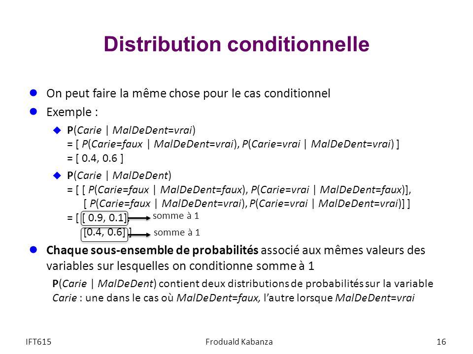 Distribution conditionnelle On peut faire la même chose pour le cas conditionnel Exemple : P(Carie | MalDeDent=vrai) = [ P(Carie=faux | MalDeDent=vrai), P(Carie=vrai | MalDeDent=vrai) ] = [ 0.4, 0.6 ] P(Carie | MalDeDent) = [ [ P(Carie=faux | MalDeDent=faux), P(Carie=vrai | MalDeDent=faux)], [ P(Carie=faux | MalDeDent=vrai), P(Carie=vrai | MalDeDent=vrai)] ] = [ [ 0.9, 0.1], [0.4, 0.6] ] Chaque sous-ensemble de probabilités associé aux mêmes valeurs des variables sur lesquelles on conditionne somme à 1 P(Carie | MalDeDent) contient deux distributions de probabilités sur la variable Carie : une dans le cas où MalDeDent=faux, lautre lorsque MalDeDent=vrai IFT615Froduald Kabanza16 somme à 1