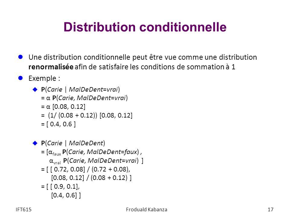 Distribution conditionnelle Une distribution conditionnelle peut être vue comme une distribution renormalisée afin de satisfaire les conditions de sommation à 1 Exemple : P(Carie | MalDeDent=vrai) = α P(Carie, MalDeDent=vrai) = α [0.08, 0.12] = (1/ (0.08 + 0.12)) [0.08, 0.12] = [ 0.4, 0.6 ] P(Carie | MalDeDent) = [α faux P(Carie, MalDeDent=faux), α vrai P(Carie, MalDeDent=vrai) ] = [ [ 0.72, 0.08] / (0.72 + 0.08), [0.08, 0.12] / (0.08 + 0.12) ] = [ [ 0.9, 0.1], [0.4, 0.6] ] IFT615Froduald Kabanza17
