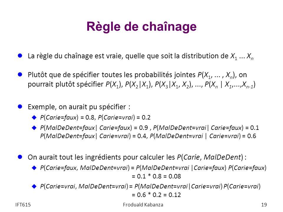 Règle de chaînage La règle du chaînage est vraie, quelle que soit la distribution de X 1...