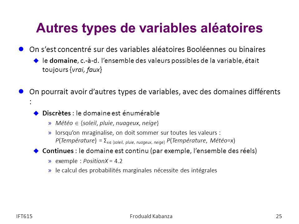 Autres types de variables aléatoires On sest concentré sur des variables aléatoires Booléennes ou binaires le domaine, c.-à-d.