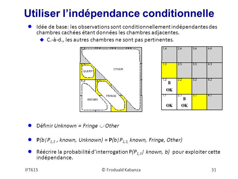 Utiliser lindépendance conditionnelle Idée de base: les observations sont conditionnellement indépendantes des chambres cachées étant données les chambres adjacentes.
