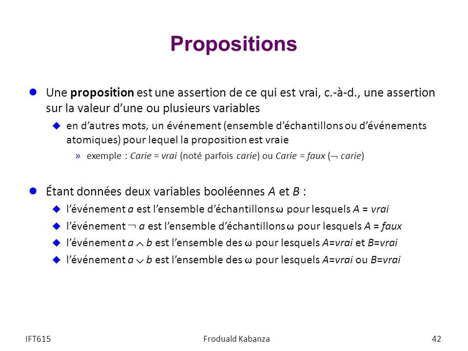 Propositions Une proposition est une assertion de ce qui est vrai, c.-à-d., une assertion sur la valeur dune ou plusieurs variables en dautres mots, un événement (ensemble déchantillons ou dévénements atomiques) pour lequel la proposition est vraie »exemple : Carie = vrai (noté parfois carie) ou Carie = faux ( carie) Étant données deux variables booléennes A et B : lévénement a est lensemble déchantillons pour lesquels A = vrai lévénement a est lensemble déchantillons pour lesquels A = faux lévénement a b est lensemble des pour lesquels A=vrai et B=vrai lévénement a b est lensemble des pour lesquels A=vrai ou B=vrai IFT615Froduald Kabanza42