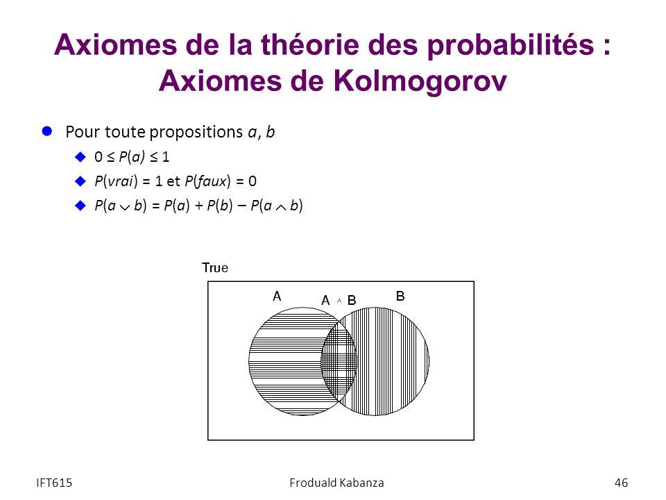 Axiomes de la théorie des probabilités : Axiomes de Kolmogorov Pour toute propositions a, b 0 P(a) 1 P(vrai) = 1 et P(faux) = 0 P(a b) = P(a) + P(b) – P(a b) IFT615Froduald Kabanza46
