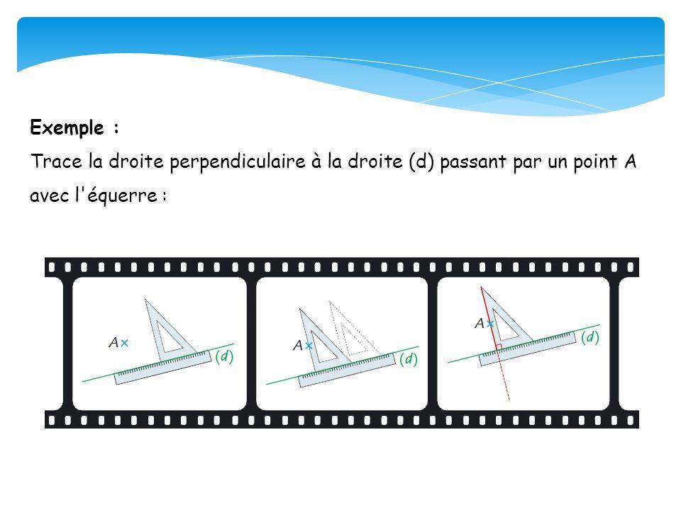 Exemple : Trace la droite perpendiculaire à la droite (d) passant par un point A avec l équerre :