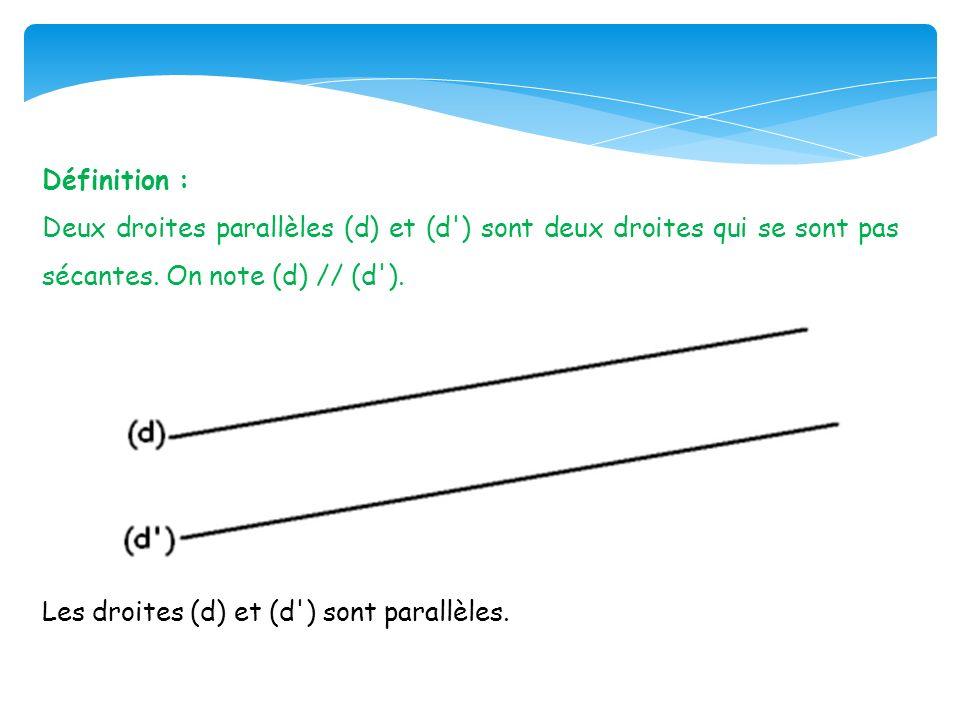 Définition : Deux droites parallèles (d) et (d') sont deux droites qui se sont pas sécantes. On note (d) // (d'). Les droites (d) et (d') sont parallè