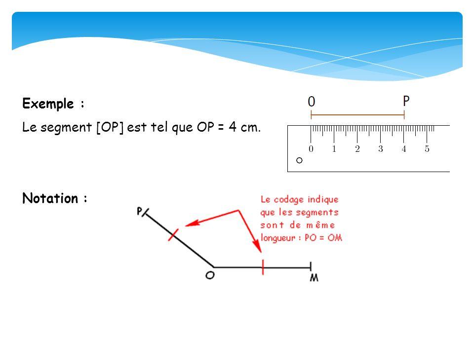 Exemple : Le segment [OP] est tel que OP = 4 cm. Notation :