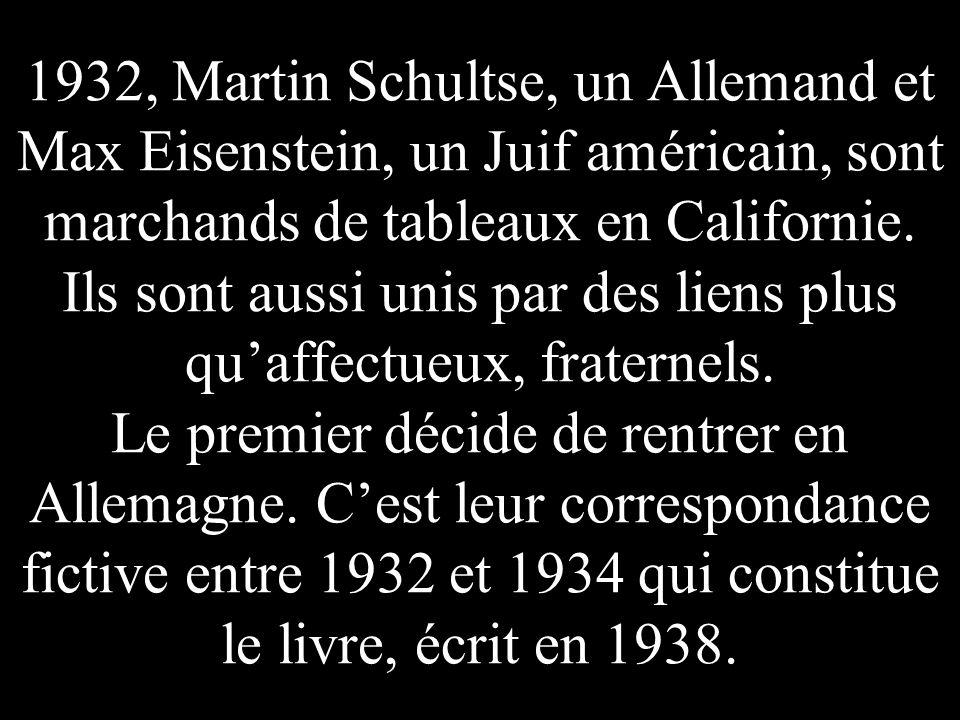 SAN FRANCISCO, CALIF0RNIE, USA Le 1er août 1933 Martin Schulse(aux bons soins de J.