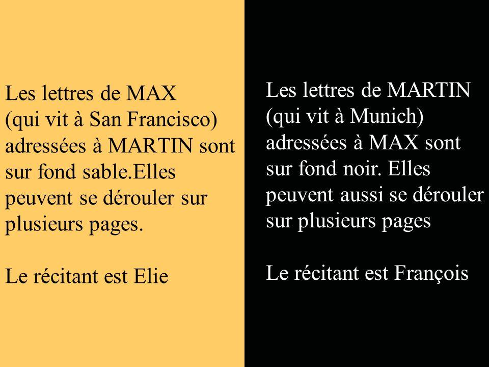 Les lettres de MAX (qui vit à San Francisco) adressées à MARTIN sont sur fond sable.Elles peuvent se dérouler sur plusieurs pages.
