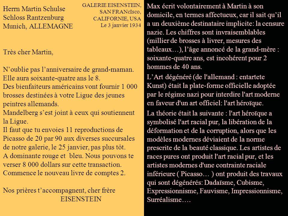 CABLOGRAMME MUNICH, LE 2 JANVIER 1934 MARTIN SCHTJLSE TES TERNES ACCEPTES. VERIFICATION COMPTES DU 12 NOVEMBRE MONTRE 13 % DE MIEUX. LE 2 FEVRIER QUAD