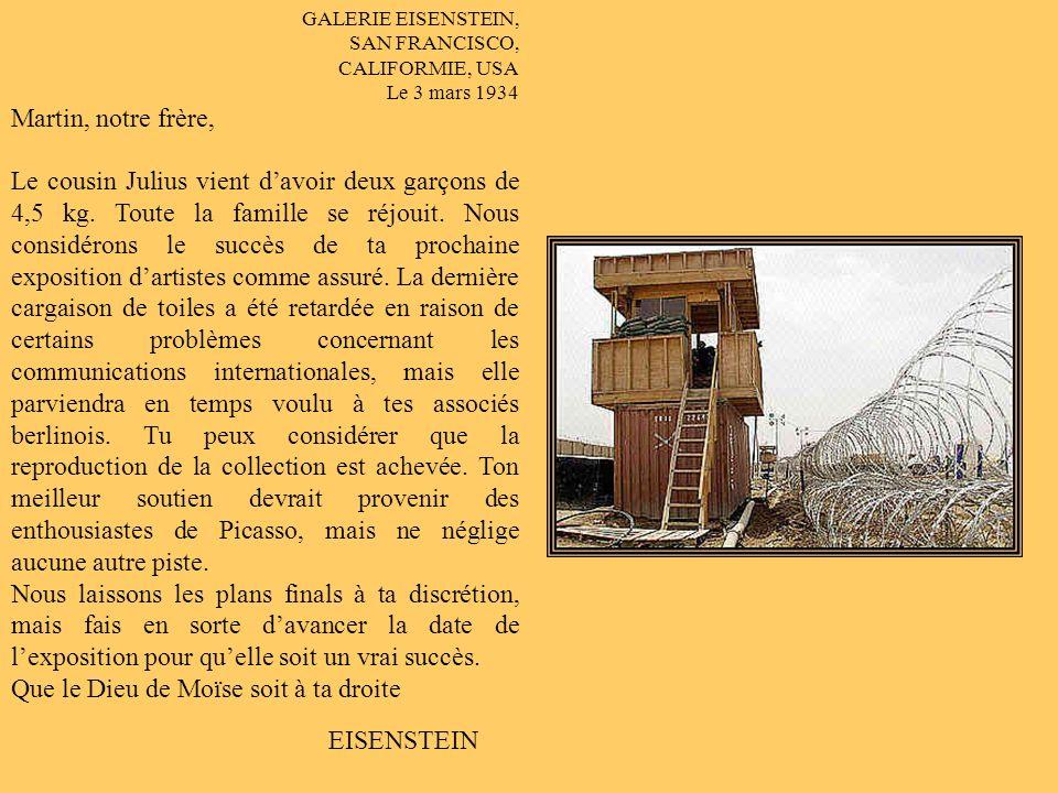GALERIE EISENSTEIN, SAN FRANcIsco, CALIFORNIE, USA 15 février 1934 Herrn Martin Schulse Schloss Rantzenburg Munich, ALLEMAGNE Notre très cher Martin, il pleut ici depuis dix-huit jours: 17,5 cm deau dans les rues.