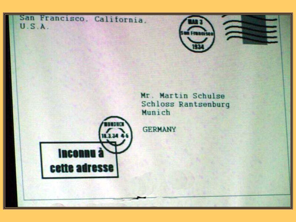 GALERIE EISENSTEIN, SAN FRANCISCO, CALIFORMIE, USA Le 3 mars 1934 Martin, notre frère, Le cousin Julius vient davoir deux garçons de 4,5 kg. Toute la