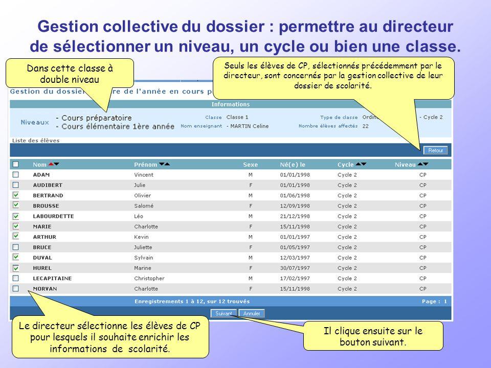 Gestion collective du dossier : permettre au directeur de sélectionner un niveau, un cycle ou bien une classe.