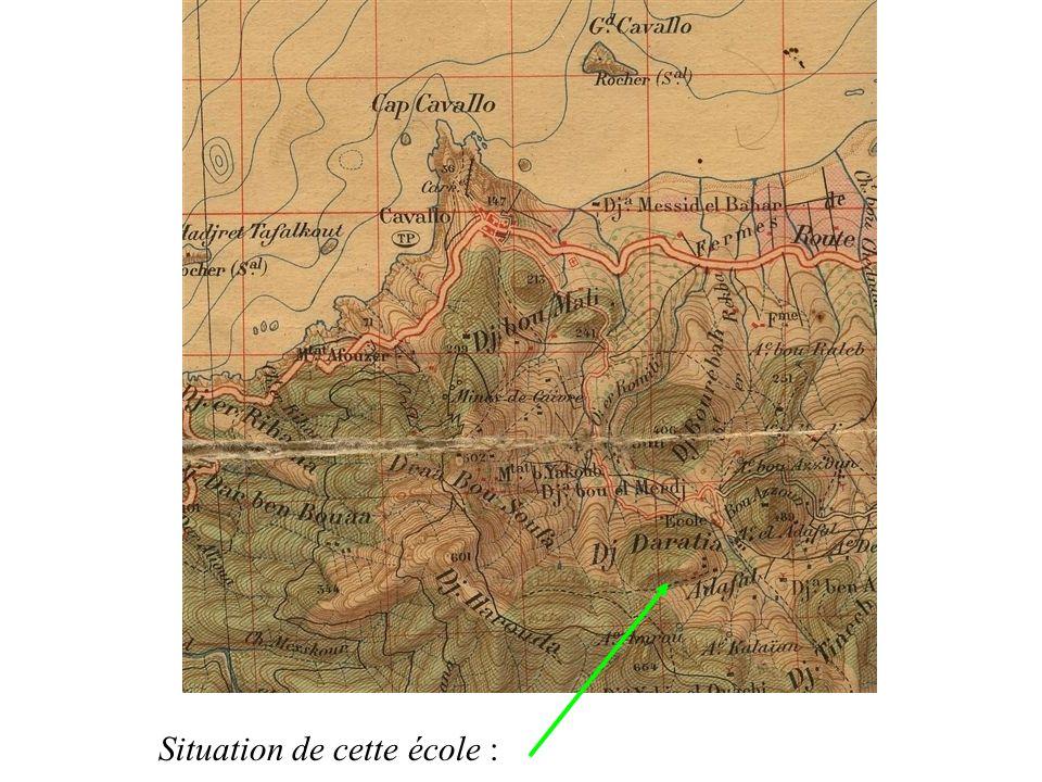 Sur cette carte dÉtat Major de 1927, lécole est bien notée ainsi que son chemin daccès.