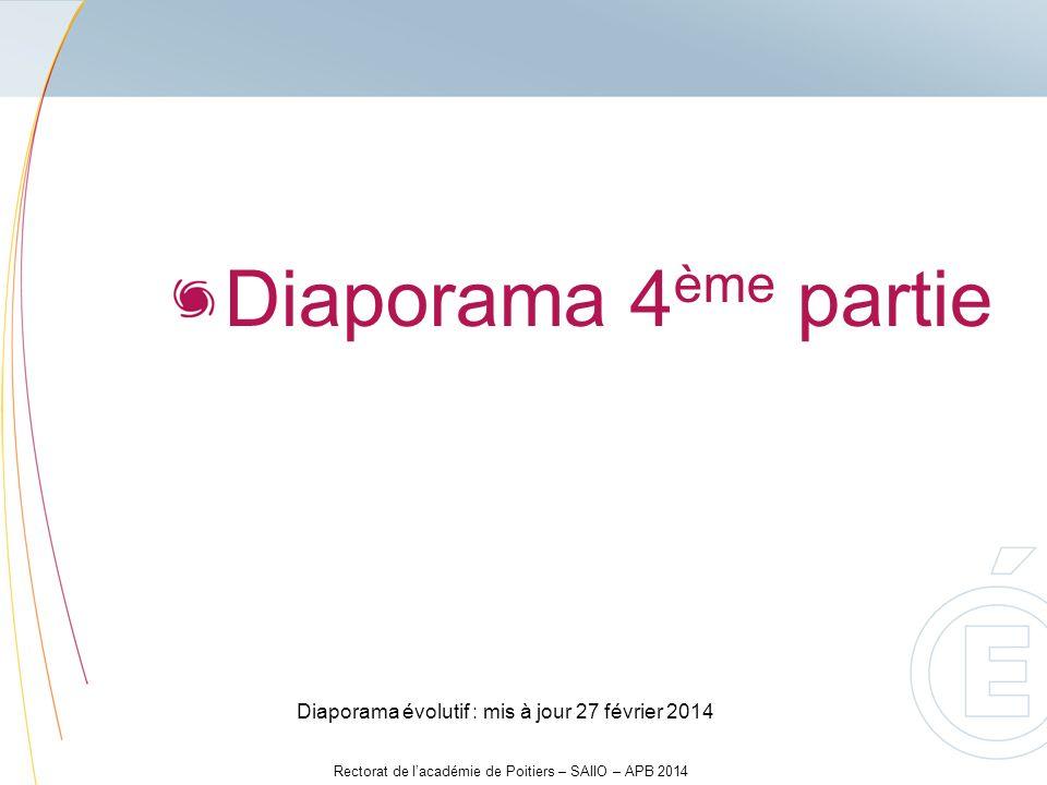 Rectorat de lacadémie de Poitiers – SAIIO – APB 2014 Diaporama 4 ème partie Diaporama évolutif : mis à jour 27 février 2014