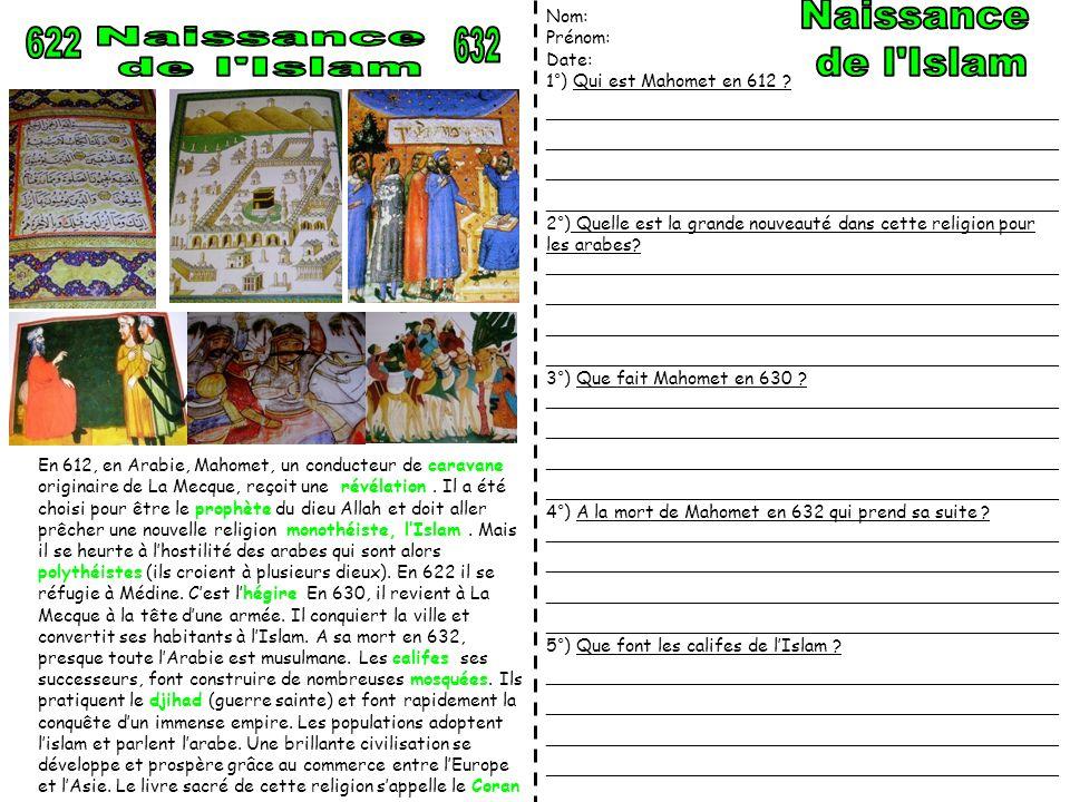 En 612, en Arabie, Mahomet, un conducteur de caravane originaire de La Mecque, reçoit une révélation. Il a été choisi pour être le prophète du dieu Al