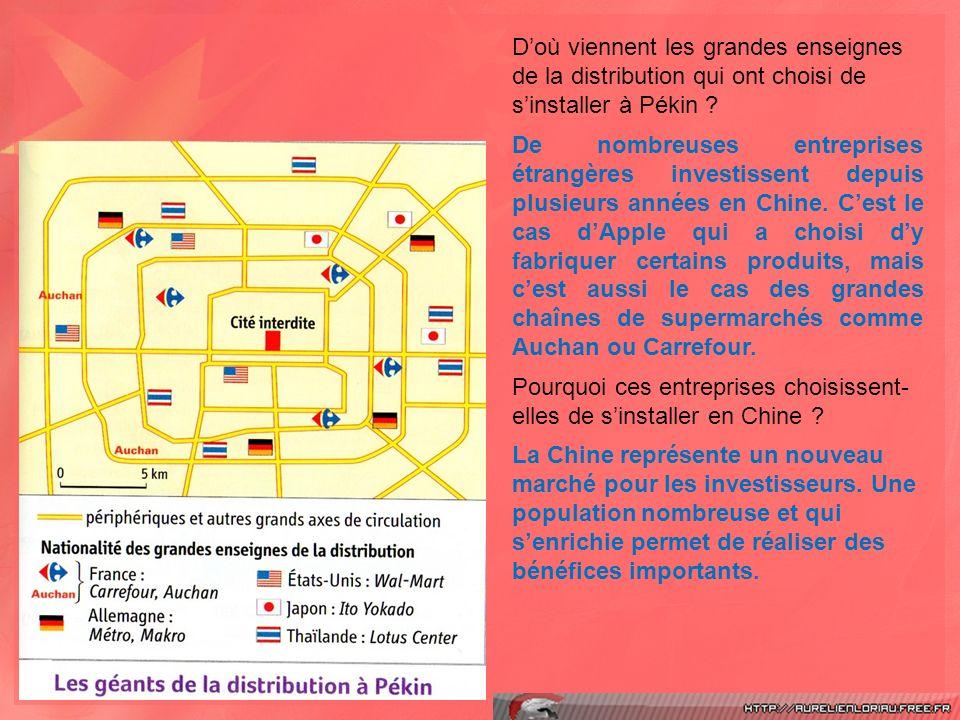 Doù viennent les grandes enseignes de la distribution qui ont choisi de sinstaller à Pékin .