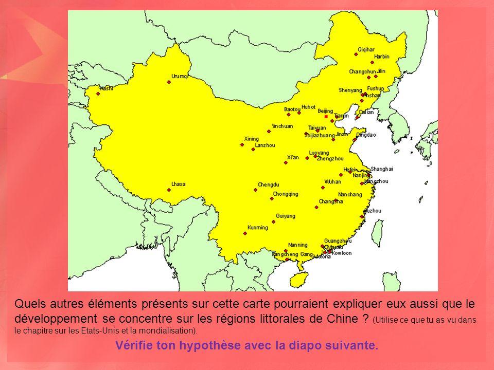 Quels autres éléments présents sur cette carte pourraient expliquer eux aussi que le développement se concentre sur les régions littorales de Chine .