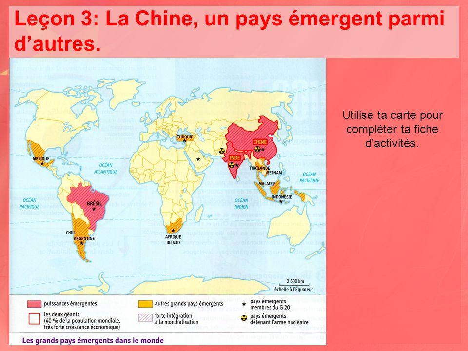 Leçon 3: La Chine, un pays émergent parmi dautres.