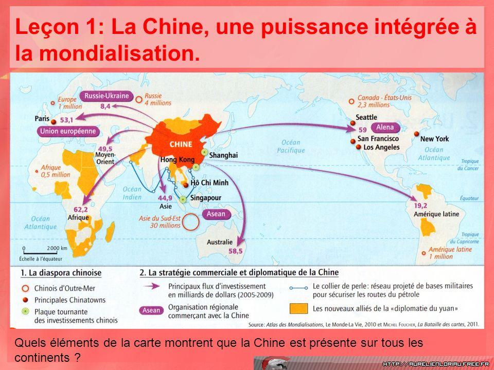 Leçon 1: La Chine, une puissance intégrée à la mondialisation.