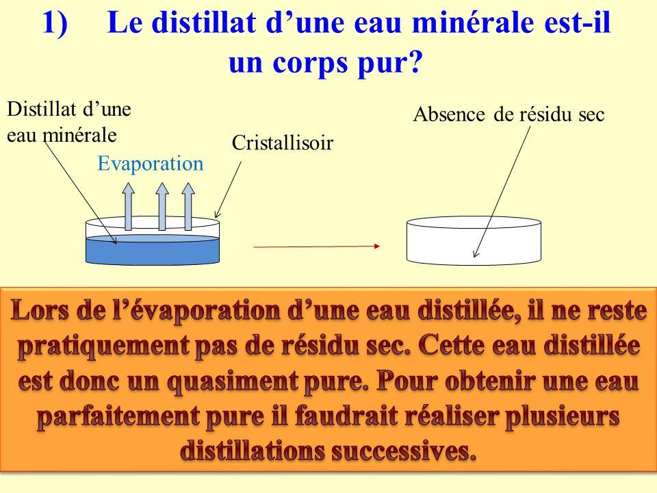 1)Le distillat dune eau minérale est-il un corps pur? Evaporation Distillat dune eau minérale Cristallisoir Absence de résidu sec