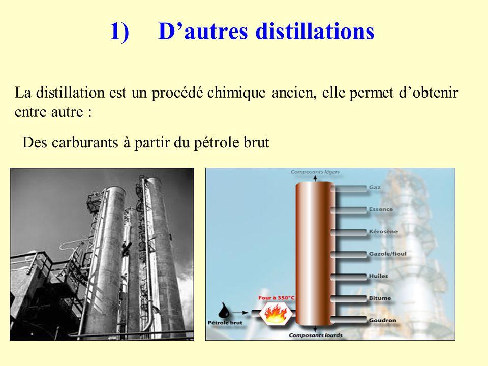 1)Dautres distillations La distillation est un procédé chimique ancien, elle permet dobtenir entre autre : Des carburants à partir du pétrole brut