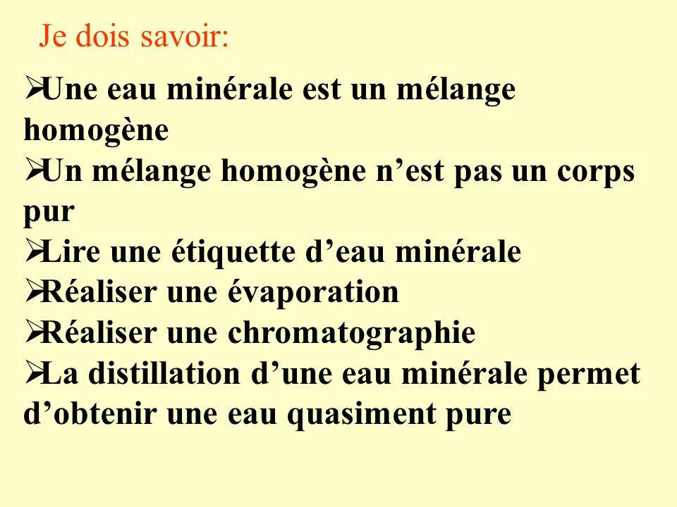 Je dois savoir: Une eau minérale est un mélange homogène Un mélange homogène nest pas un corps pur Lire une étiquette deau minérale Réaliser une évapo