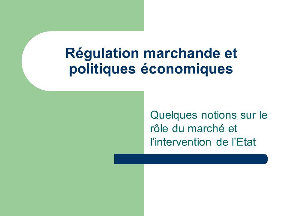 Régulation marchande et politiques économiques Quelques notions sur le rôle du marché et lintervention de lEtat