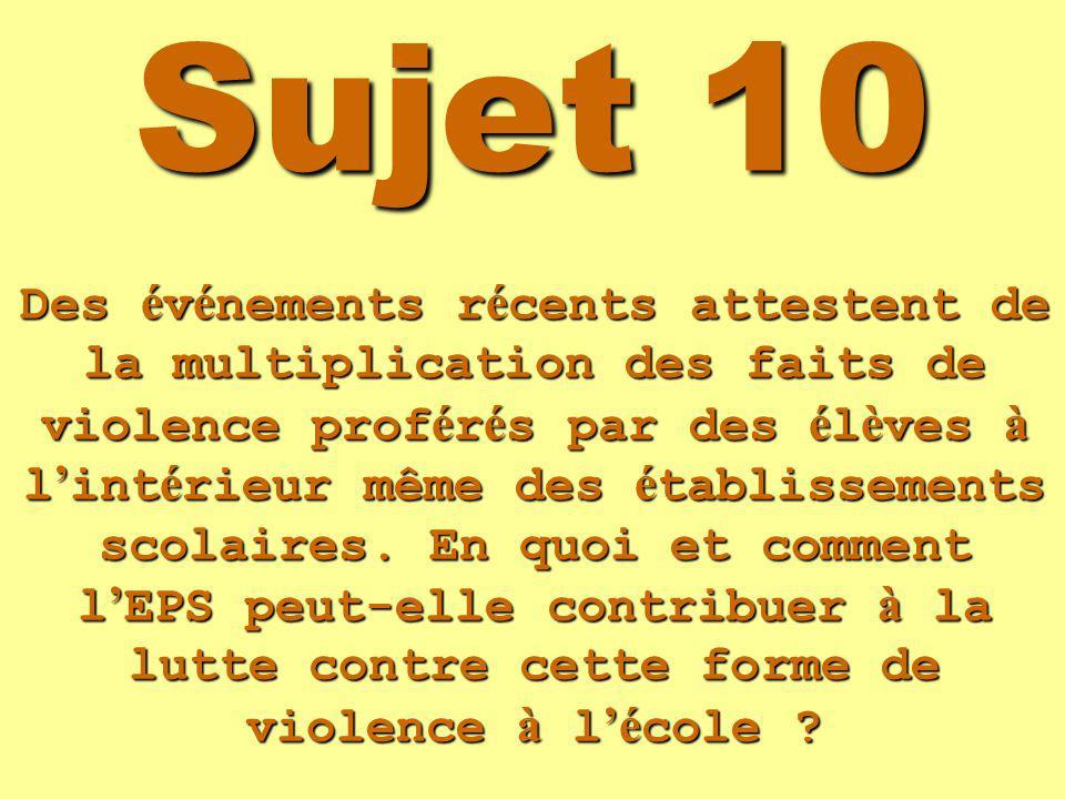 Sujet 10 Des é v é nements r é cents attestent de la multiplication des faits de violence prof é r é s par des é l è ves à l int é rieur même des é tablissements scolaires.