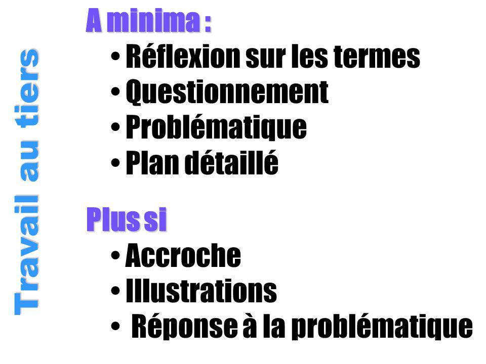 A minima : Réflexion sur les termes Questionnement Problématique Plan détaillé Travail au tiers Plus si Accroche Illustrations Réponse à la problématique
