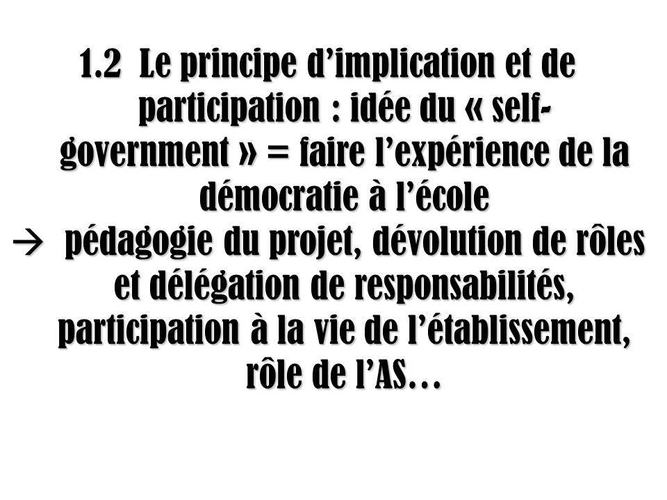 1.2 Le principe dimplication et de participation : idée du « self- government » = faire lexpérience de la démocratie à lécole pédagogie du projet, dévolution de rôles et délégation de responsabilités, participation à la vie de létablissement, rôle de lAS… pédagogie du projet, dévolution de rôles et délégation de responsabilités, participation à la vie de létablissement, rôle de lAS…