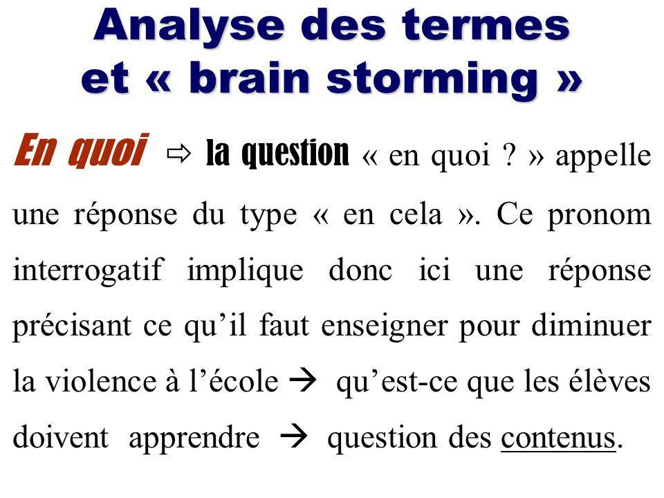 Analyse des termes et « brain storming » En quoi la question « en quoi .