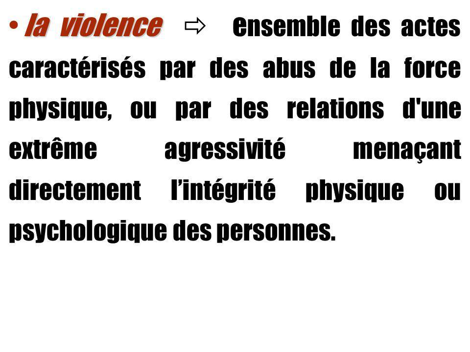 la violence la violence e nsemble des actes caractérisés par des abus de la force physique, ou par des relations d une extrême agressivité menaçant directement lintégrité physique ou psychologique des personnes.