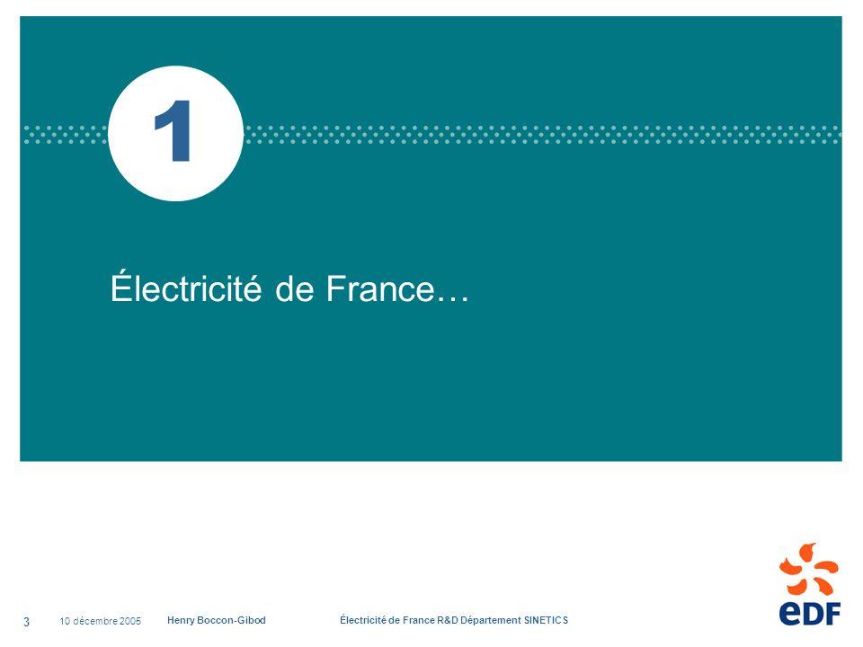 10 décembre 2005 Henry Boccon-Gibod Électricité de France R&D Département SINETICS 3 1 Électricité de France…