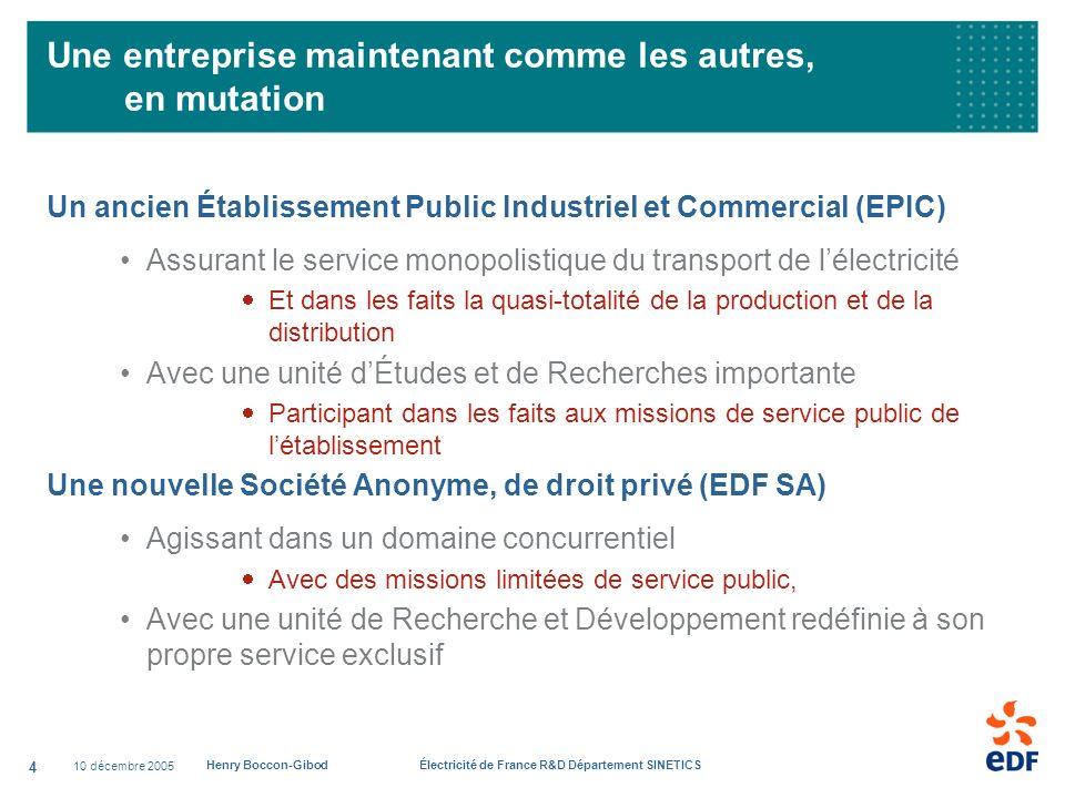 10 décembre 2005 Henry Boccon-Gibod Électricité de France R&D Département SINETICS 4 Une entreprise maintenant comme les autres, en mutation Un ancien