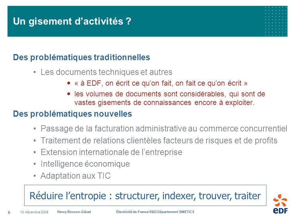 10 décembre 2005 Henry Boccon-Gibod Électricité de France R&D Département SINETICS 6 Un gisement dactivités ? Des problématiques traditionnelles Les d