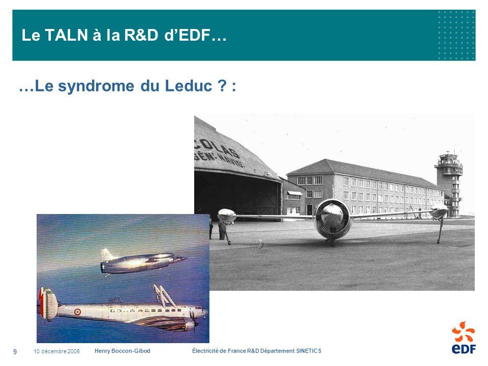 10 décembre 2005 Henry Boccon-Gibod Électricité de France R&D Département SINETICS 9 Le TALN à la R&D dEDF… …Le syndrome du Leduc ? :