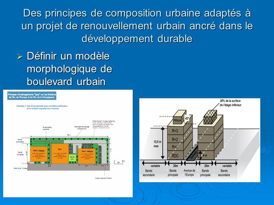 Des principes de composition urbaine adaptés à un projet de renouvellement urbain ancré dans le développement durable Définir un modèle morphologique de boulevard urbain Définir un modèle morphologique de boulevard urbain