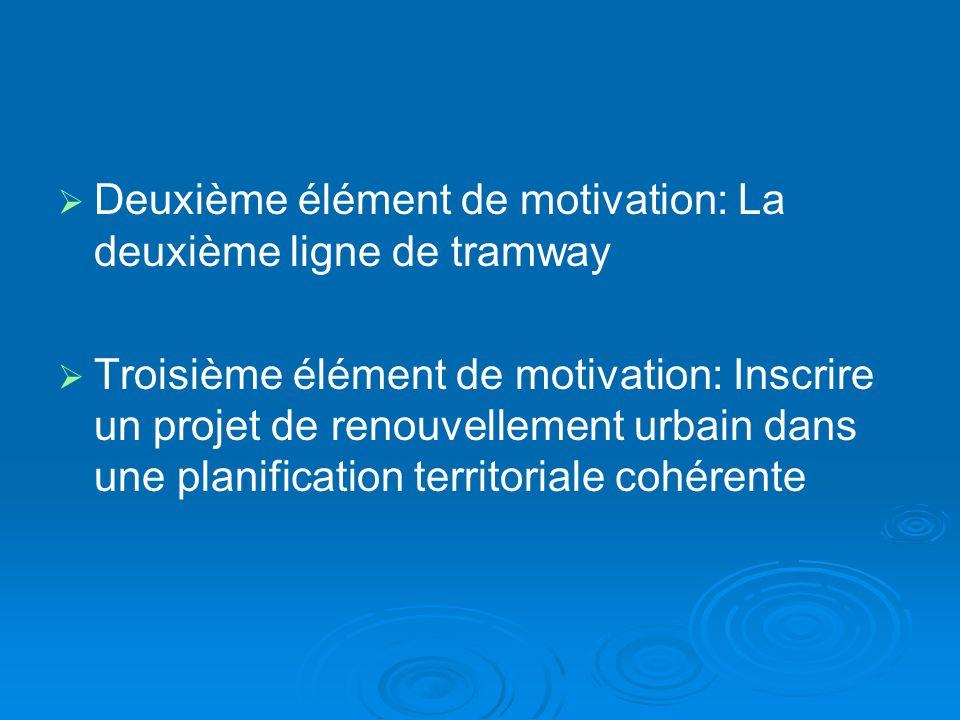 Deuxième élément de motivation: La deuxième ligne de tramway Troisième élément de motivation: Inscrire un projet de renouvellement urbain dans une planification territoriale cohérente