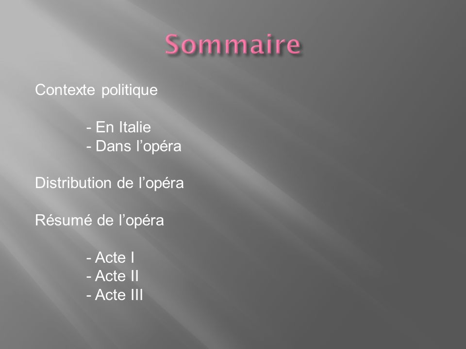 Contexte politique - En Italie - Dans lopéra Distribution de lopéra Résumé de lopéra - Acte I - Acte II - Acte III